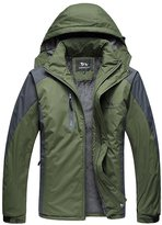 WHENOW Men's Winter Jacket Ski Snow Climbing Hiking Warm Coat Outdoor Sports Jacket L