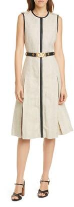 Tory Burch Leather Trim Linen Midi Dress