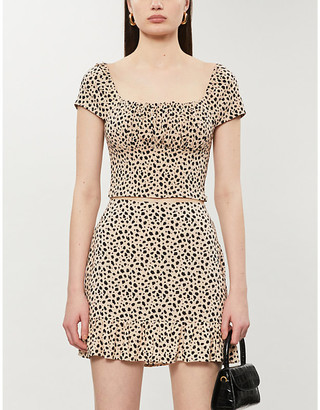 Selfridges Pacsun Leopard-print woven crop top