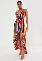 Missguided Red Multi Stripe Ruffle High Low Maxi Dress