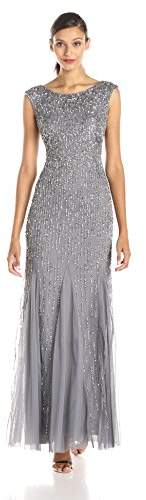Adrianna Papell Women's Sleeveless Beaded Gown with Godets and Linear Beading,2