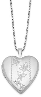 Versil Sterling Silver Rhodium-plated 20mm with Butterflies Heart Locket 18-inch Necklace