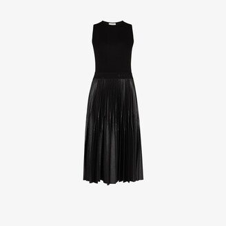 Givenchy Faux Leather Pleated Midi Dress