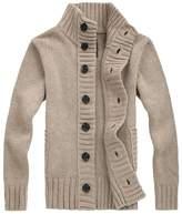TargetMountain Men's Wool Blend Mock Neck Open Button Down Cardigan Sweater