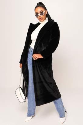 I SAW IT FIRST Black Long Faux Fur Coat