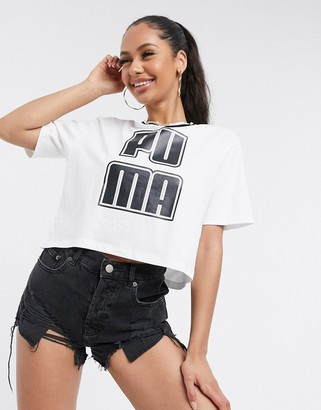 Puma Rebel reload crop t-shirt in white