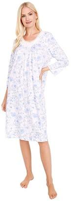Carole Hochman Soft Jersey 3/4 Sleeve Waltz Gown (White/Blue Floral) Women's Pajama