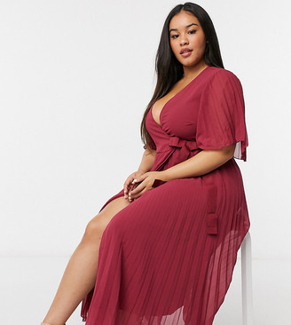 ASOS DESIGN Curve exclusive pleated midi dress with kimono sleeve and tie waist