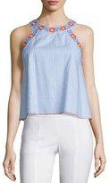 Tory Burch Meg Embroidered-Trim Crop Top, Blue Dusk/White