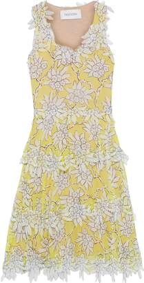 Valentino Tiered Floral-appliqued Printed Silk-chiffon Dress
