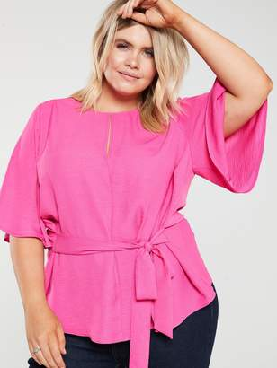 V By Very Curve Angel Sleeve Blouse - Hot Pink