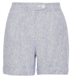 Dorothy Perkins Womens Dp Petite Blue Stripe Linen Shorts, Blue