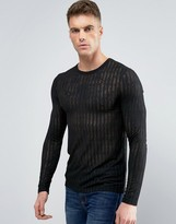 Asos Muscle Long Sleeve T-Shirt With Sheer Stripe