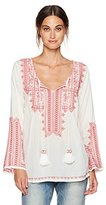 Max Studio Women's Long Sleeve Cotton Embroidered Shirt