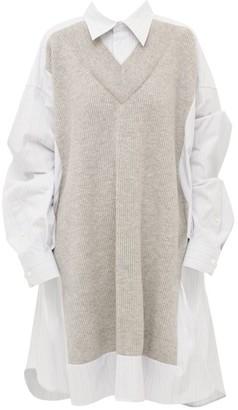 Maison Margiela Oversized Knit Detail Shirtdress