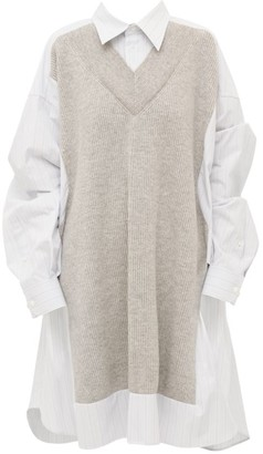 Maison Margiela Spliced Poplin & Knit Shirtdress