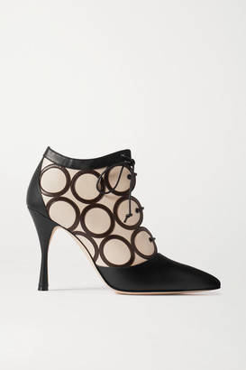 Manolo Blahnik Fanku Lace-up Appliqued Leather Ankle Boots - Black