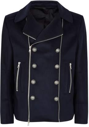 Balmain Double-Zip Pea Coat