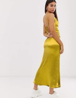 Public Desire X Lissy Roddy maxi dress with open back in satin