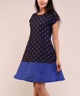Lbisse Women's Casual Dresses Black - Black & Royal Blue Polka Dot Cap-Sleeve Shift Dress - Women & Plus