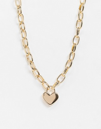Topshop chunky chain necklace in gold with heart pendant