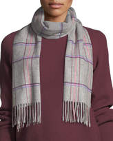Neiman Marcus Cashmere Waterweave Track Plaid Fringe Scarf