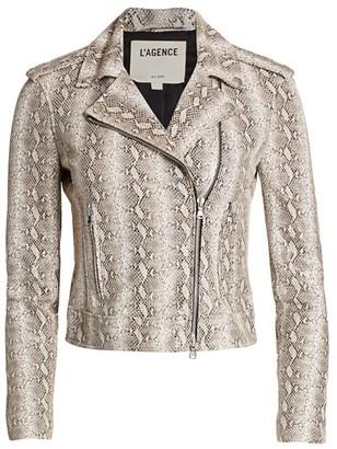 L'Agence Snake Embossed Leather Moto Jacket