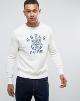 Polo Ralph Lauren Crew Neck Sweatshirt In Cream With Nautical Logo