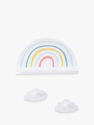 Great Little Trading Co Rainbow Shelf and Cloud Hooks, White/Multi