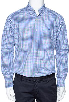 Ralph Lauren Blue Checked Cotton Long Sleeve Button Down Shirt M