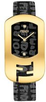Fendi Chameleon Graffiti Goldtone Stainless Steel & Leather Strap Watch/Black