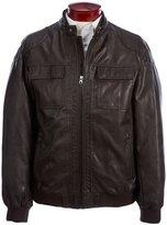 Roundtree & Yorke Faux-Leather Bomber Jacket