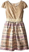 Us Angels Sequin Aztec Brocade Cap Sleeve w/ Full Skirt (Big Kids)
