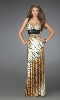 La Femme Sexy Tiger Print Long Gown 14483