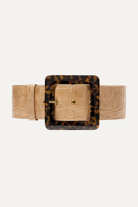 STAUD Croc-effect Leather Waist Belt - Sand