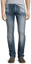 PRPS Distressed Spay-Bleached Relaxed Slim Jeans, Indigo