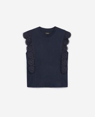The Kooples Sleeveless navy blue cotton T-shirt