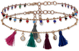 lonna & lilly Gold-Tone 2-Pc. Set Crystal, Seed Bead & Tassel Ankle Bracelets