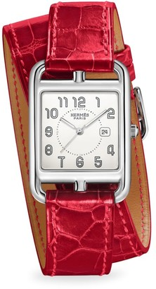 Hermes Cape Cod 29MM Stainless Steel & Alligator Strap Watch