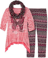 Knitworks Knit Works 3-pc. 3/4-Sleeve Tunic, Leggings and Scarf Set - Girls 7-16