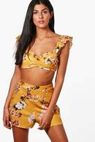 boohoo Izzy Floral Frill Bralet & Short Co-ord yellow