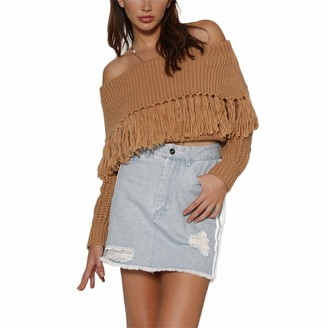 Tidec Women Off Shoulder Jumper Casual Long Sleeve Slim Fit Fringe Cable Knitted Pullover Sweater with Tassel (One Size