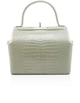 gu de Chord Two-Tone Croc-Effect Leather Top Handle Bag