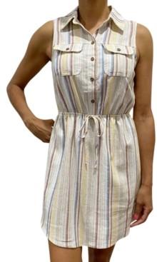BeBop Juniors' Sleeveless Stripe Shirtdress