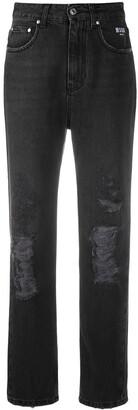 MSGM Ripped Straight-Leg Jeans