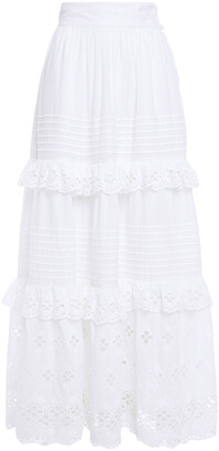 Antik Batik Ruffle-trimmed Broderie Anglaise Cotton Maxi Skirt