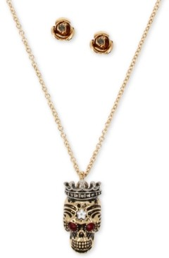 Betsey Johnson Two-Tone Pave Crowned Skull Pendant Necklace & Rose Stud Earrings Set