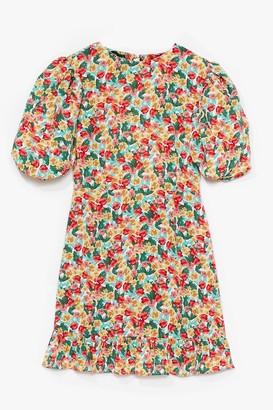 Nasty Gal Womens White Floral Volume Sleeve Open Back Tea Dress - 8, White