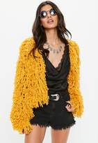 Missguided Premium Mustard Shaggy Knit Cardigan