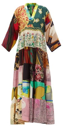 RIANNA + NINA Vintage Patchwork Silk Maxi Dress - Multi